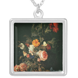 Still Life with Poppies and Roses Silver Plated Necklace