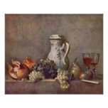 Still life with porcelain jug by Jean Chardin Poster