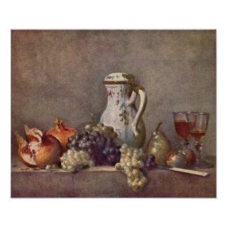 Still life with porcelain jug by Jean Chardin Posters