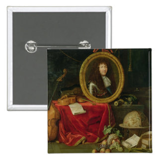 Still life with portrait of King Louis 2 Inch Square Button