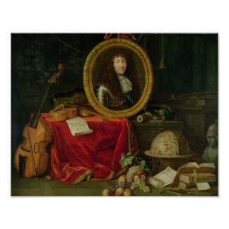 Still life with portrait of King Louis Poster