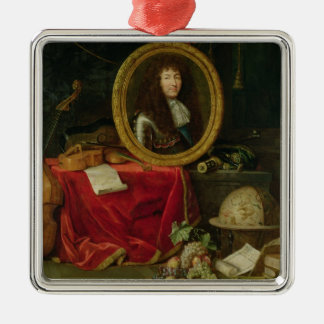 Still life with portrait of King Louis Square Metal Christmas Ornament