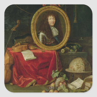 Still life with portrait of King Louis Square Sticker