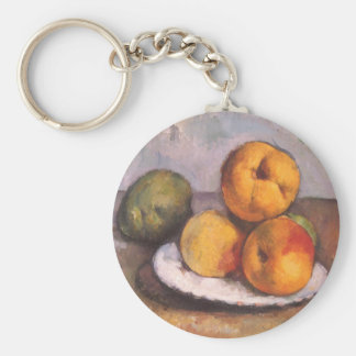 Still Life with Quince, Apples, Pears by Cezanne Basic Round Button Keychain