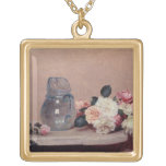 Still Life with Roses, 1889 (oil on canvas) Square Pendant Necklace