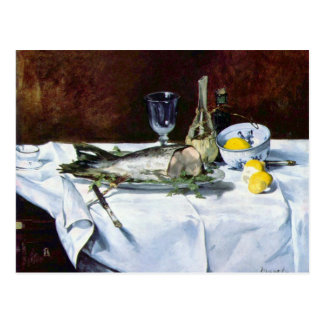 Still Life with Salmon by Edouard Manet Postcard