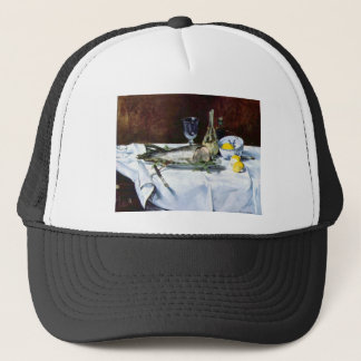 Still Life with Salmon by Edouard Manet Trucker Hat
