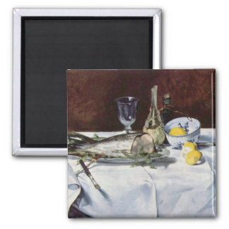 Still life with salmon - Edouard Manet 2 Inch Square Magnet