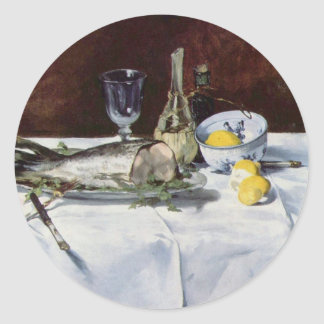 Still life with salmon - Edouard Manet Classic Round Sticker