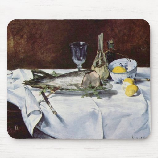 Still life with salmon - Edouard Manet Mouse Pad