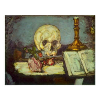 Still Life with Skull, Candle, Book By Cezanne Print