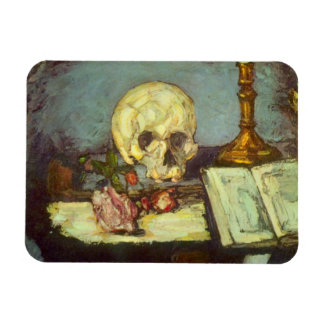 Still Life with Skull, Candle, Book By Cezanne Rectangular Photo Magnet