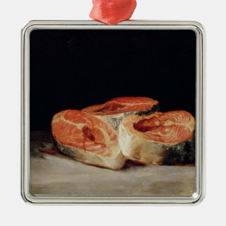 Still Life with Slices of Salmon, 1808-12 Square Metal Christmas Ornament