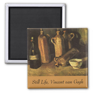 Still Life with Stone Bottles by Vincent van Gogh 2 Inch Square Magnet