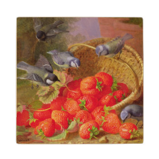 Still Life with Strawberries and Bluetits Maple Wood Coaster