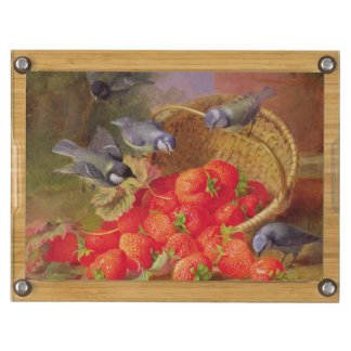 Still Life with Strawberries and Bluetits Rectangular Cheese Board