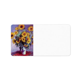 Still Life with Sunflowers by Claude Monet Address Label