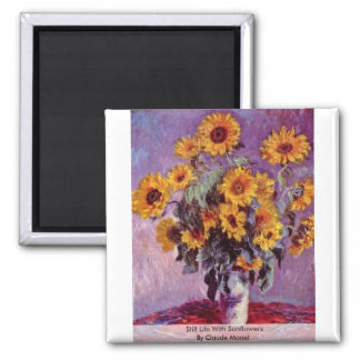 Still Life With Sunflowers By Claude Monet 2 Inch Square Magnet
