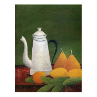 Still Life with Teapot & Fruit by Henri Rousseau Postcard