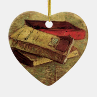 Still Life with Three Books by Vincent van Gogh Double-Sided Heart Ceramic Christmas Ornament