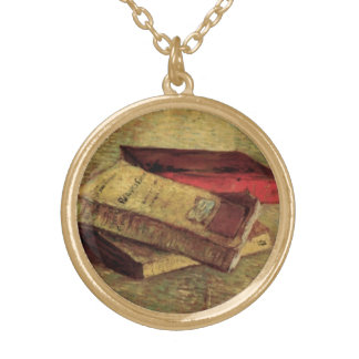 Still Life with Three Books by Vincent van Gogh Gold Plated Necklace