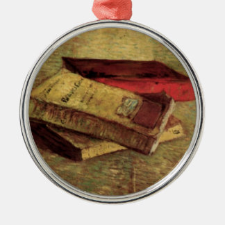 Still Life with Three Books by Vincent van Gogh Round Metal Christmas Ornament