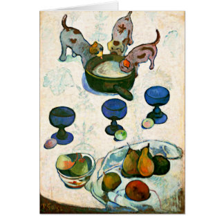 Still Life with Three Puppies, Paul Gauguin Card