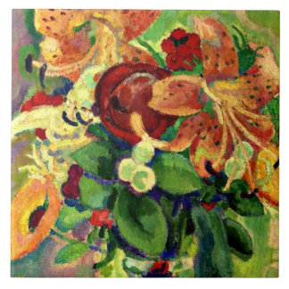 Still Life with Tiger Lilies; Leo Gestel painting Large Square Tile