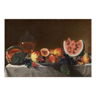 Still life with watermelons and carafe perfect poster