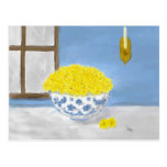 Still Life with Yellow Daisies in Bowl Postcard
