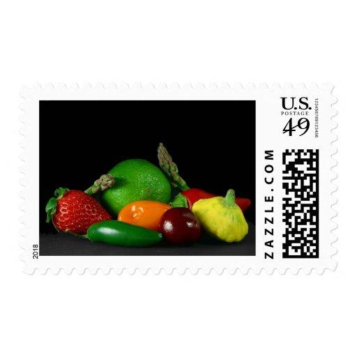 Still Lifevegetables Asparagus Limes Strawberries Postage Stamps