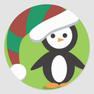 Still more Christmas Penguins Classic Round Sticker