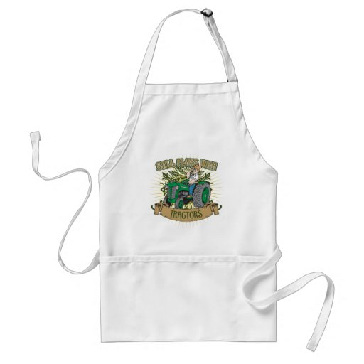 Still Plays With Green Tractors Adult Apron