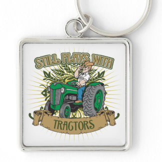 Still Plays With Green Tractors Keychain