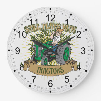 Still Plays With Green Tractors Large Clock