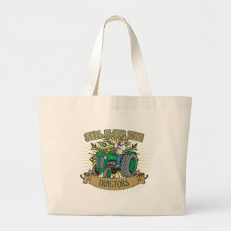 Still Plays With Green Tractors Large Tote Bag