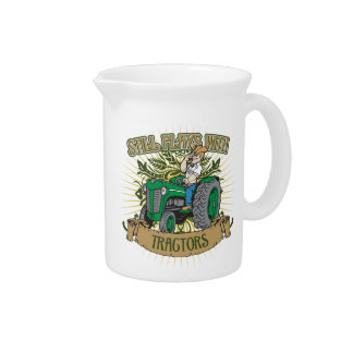 Still Plays With Green Tractors Beverage Pitcher