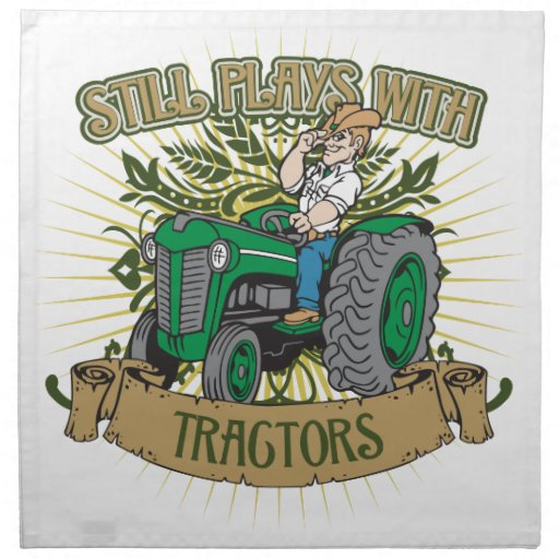 Still Plays With Green Tractors Printed Napkins