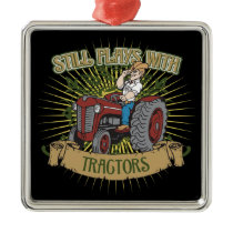 Still Plays With Red Tractors Metal Ornament