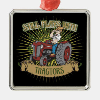 Still Plays With Red Tractors Square Metal Christmas Ornament
