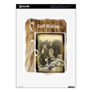 Still Riding Little Cowgirl Horse Vintage Photo iPad 3 Decal
