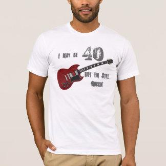 Still Rockin' at 40, red & black guitar T-Shirt