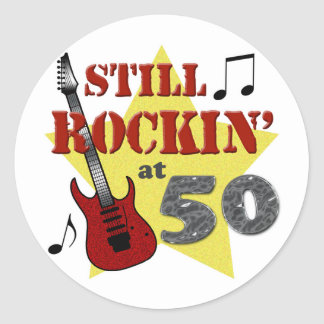 Still Rockin' At 50 Round Sticker