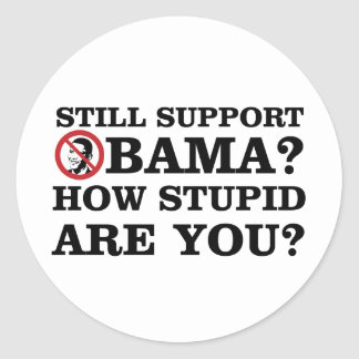 Still Support Obama? How Stupid Are You? Classic Round Sticker
