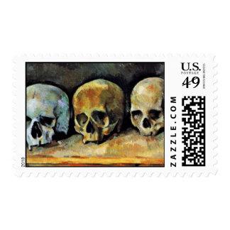 Still Three Skulls By Paul Cézanne (Best Quality) Stamp