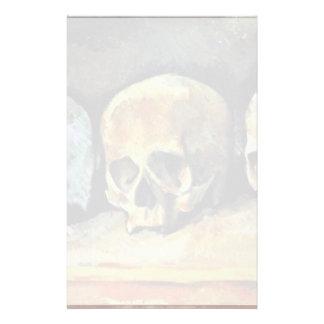 Still Three Skulls By Paul Cézanne (Best Quality) Stationery