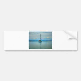 Still water with yacht car bumper sticker