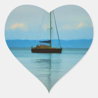 Still water with yacht heart sticker