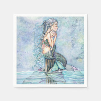 Still Waters Mermaid Mother and Infant Baby Shower Paper Napkin
