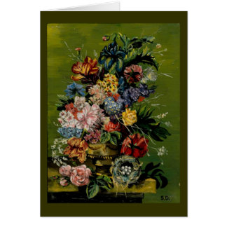 stillife with nest - vintage greeting card